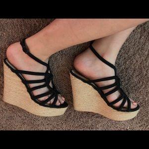 H by Halston Black/Tan Wedge Heel Sandals Size 8.5